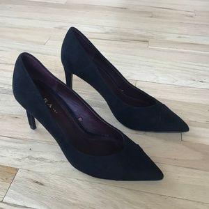 Zara Black Heels Faux Suede Pointed High Heels